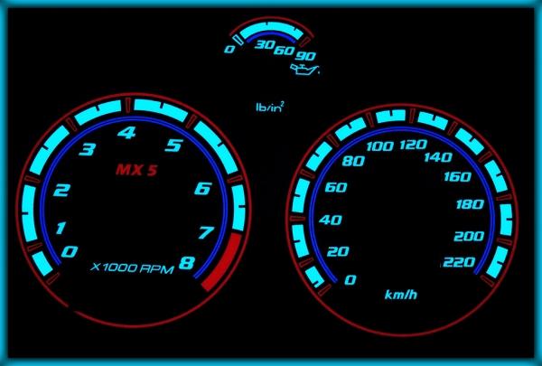 MAZDA MX5 Miata MK1 (NA) 89-97 EU 220KMH BLACK/BLUE EL Plasma Glow Gauges Cluster Dials