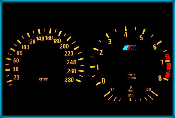 BMW E36 M3 91-99 EU 280KMH BLACK/AMBER EL Plasma Glow Gauges Speedo Cluster Dials