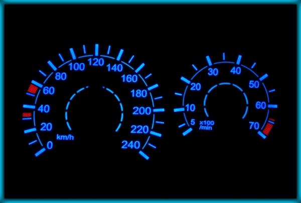 MERCEDES-BENZ C-Class W202/S202 96-00 EU 240KMH WHITE/BLUE EL Plasma Glow Gauges Dials