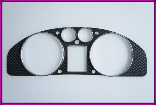AUDI A4 B5 (8D) 94-01 non-AUX CARBON FIBER Gauge Bezel + Rings CHROME