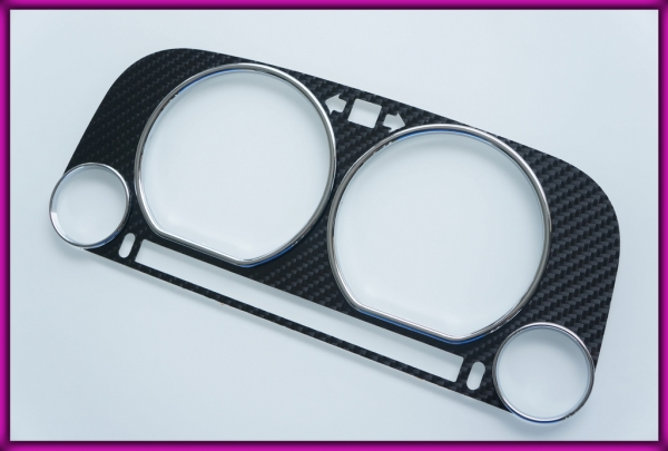 VW Jetta / Vento MK3 (1H) 92-99 CARBON FIBER Gauge Bezel + Rings CHROME