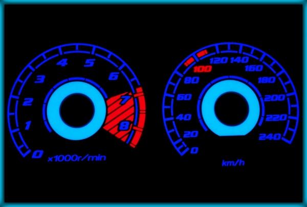 HONDA Civic Coupe MK7 (EM2) 01-05 EU 240KMH WHITE/BLUE EL Plasma Glow Gauges Cluster Dials