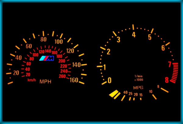 BMW E36 M3 91-99 US 160MPH BLACK/AMBER EL Plasma Glow Gauges Speedo Cluster Dials