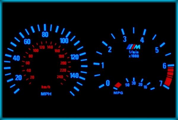 BMW E46 98-05 UK 140MPH WHITE/BLUE EL Plasma Glow Gauges Speedo Cluster Dials