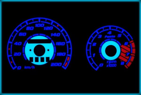 FIAT Punto MK1 176 93-99 EU 200KMH WHITE/BLUE EL Plasma Glow Gauges Speedo Cluster Dials