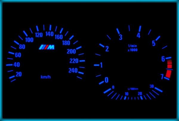 BMW E36 91-99 EU 240KMH WHITE/BLUE EL Plasma Glow Gauges Speedo Cluster Dials