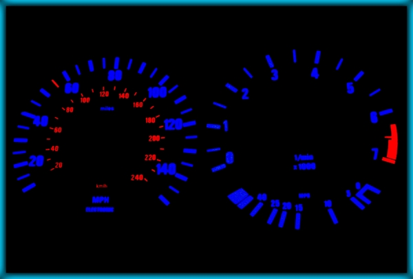 BMW E30 82-94 US 140MPH WHITE/BLUE EL Plasma Glow Gauges Speedo Cluster Dials