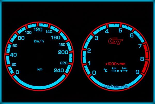 NISSAN Primera P11 GT 95-02 EU 240KMH BLACK/BLUE EL Plasma Glow Gauges Speedo Cluster Dials