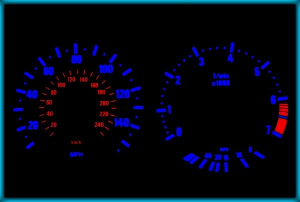 BMW E39 95-03 US 140MPH WHITE/BLUE EL Plasma Glow Gauges Speedo Cluster Dials
