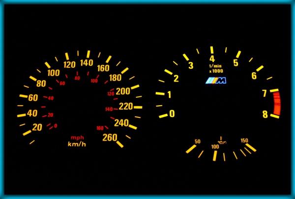 BMW E30 M3 82-94 EU 260KMH BLACK/AMBER EL Plasma Glow Gauges Speedo Cluster Dials
