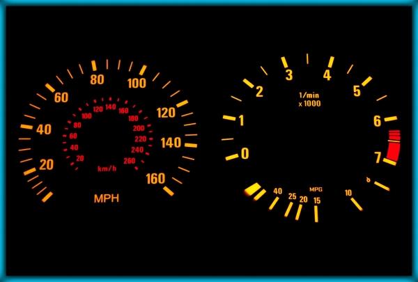 BMW E34 88-96 US 160MPH BLACK/AMBER EL Plasma Glow Gauges Speedo Cluster Dials