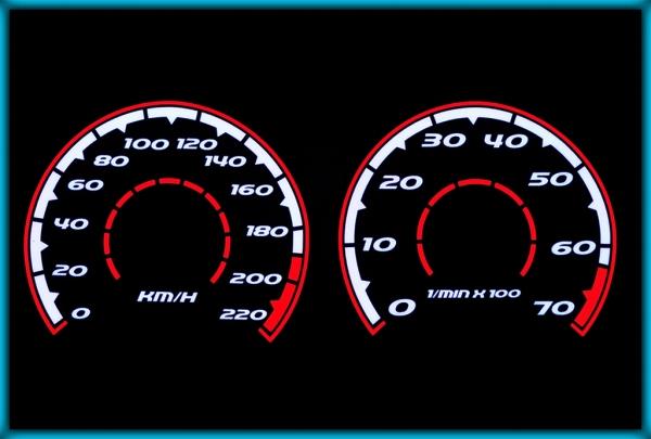 VW Golf MK3 1H 93-01 EU 0-220KMH BLACK/WHITE/RED EL Plasma Glow Gauges Cluster Dials