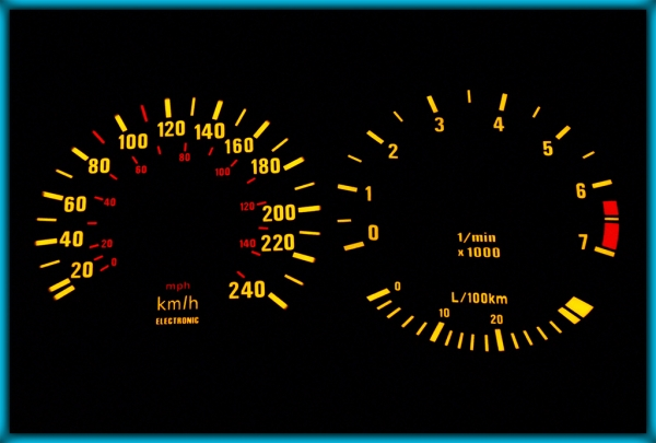 BMW E30 82-94 EU 240KMH BLACK/AMBER EL Plasma Glow Gauges Speedo Cluster Dials