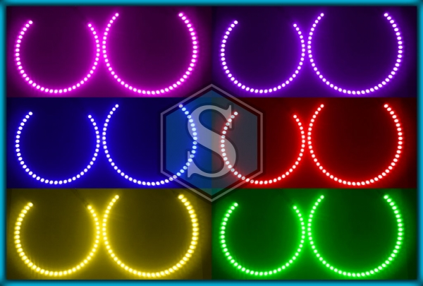 BMW E46 98-05 HALOGEN / NON-PROJECTOR RGB LED MULTICOLOUR Angel Eyes Halo Rings
