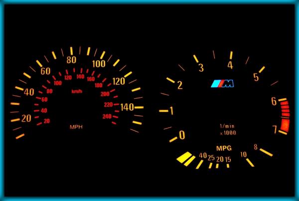 BMW E36 91-99 US 140MPH BLACK/AMBER EL Plasma Glow Gauges Speedo Cluster Dials