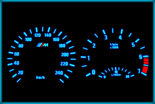 BMW E46 98-05 EU 240KMH WHITE/BLUE EL Plasma Glow Gauges Speedo Cluster Dials