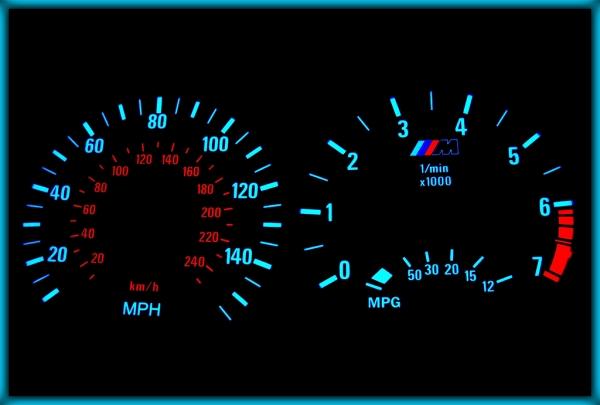 BMW E46 98-05 US 140MPH BLACK/BLUE EL Plasma Glow Gauges Speedo Cluster Dials