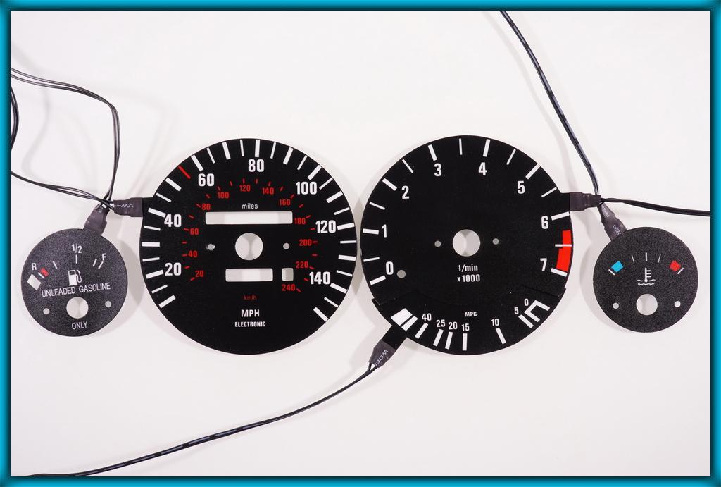BMW E30 82-94 US 140MPH BLACK/BLUE EL Plasma Glow Gauges Speedo Cluster  Dials