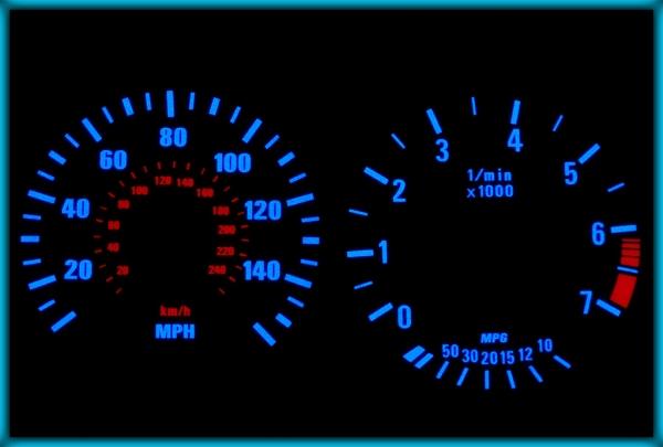 BMW E39 95-03 UK 140MPH WHITE/BLUE EL Plasma Glow Gauges Speedo Cluster Dials