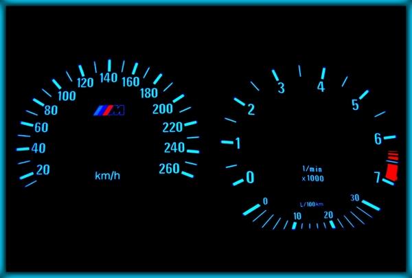 BMW E36 91-99 EU 260KMH BLACK/BLUE EL Plasma Glow Gauges Speedo Cluster Dials