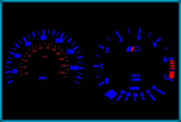 BMW E36 91-99 UK 140MPH WHITE/BLUE EL Plasma Glow Gauges Speedo Cluster Dials