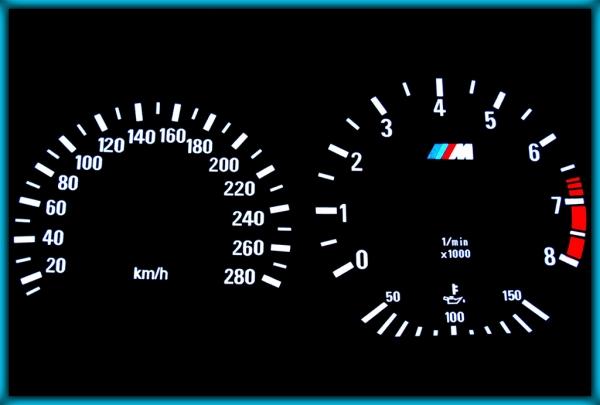 BMW E36 M3 91-99 EU 280KMH BLACK/WHITE EL Plasma Glow Gauges Speedo Cluster Dials