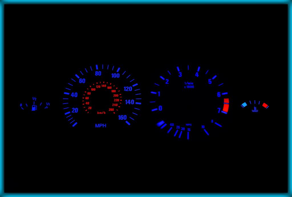 VW Transporter Caravelle T3 T25 79-92 100MPH BLACK//AMBER EL Plasma Glow  Gauges
