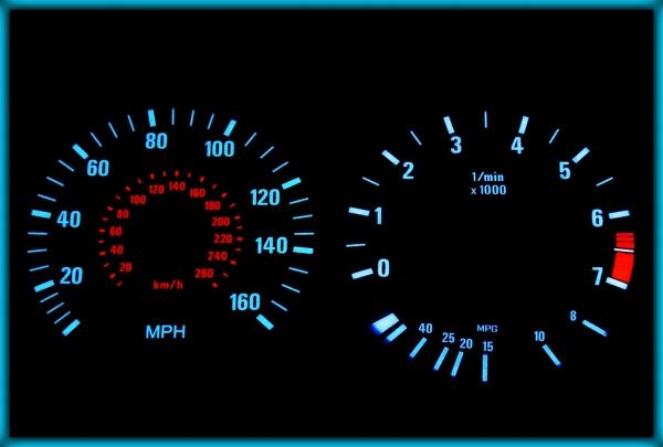 BMW E34 88-96 US 160MPH BLACK/BLUE EL Plasma Glow Gauges Speedo Cluster Dials