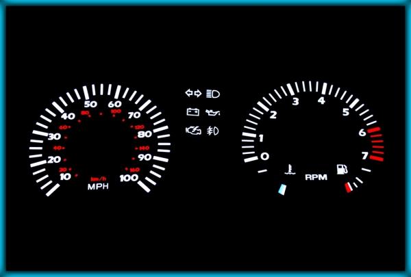 VW Transporter / Caravelle T3/T25 79-92 US/UK 100MPH BLACK/WHITE EL Plasma Glow Gauges Dials