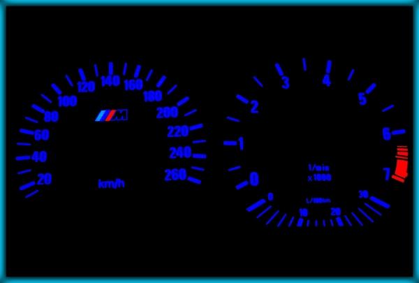 BMW E36 91-99 EU 260KMH WHITE/BLUE EL Plasma Glow Gauges Speedo Cluster Dials