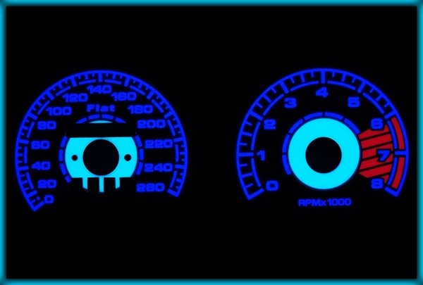 FIAT Coupe TURBO 175 93-00 EU 260KMH WHITE/BLUE EL Plasma Glow Gauges Speedo Cluster Dials