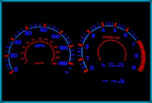 NISSAN Primera P11 GT 95-02 UK 140MPH WHITE/BLUE EL Plasma Glow Gauges Speedo Cluster Dials