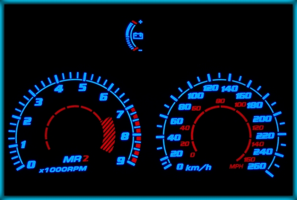 TOYOTA MR2 (W20) 89-99 EU 260KMH WHITE/BLUE EL Plasma Glow Gauges Speedo Cluster Dials