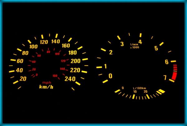 BMW E39 95-03 EU 240KMH BLACK/AMBER EL Plasma Glow Gauges Speedo Cluster Dials