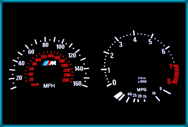 BMW E36 M3 91-99 US 160MPH BLACK/WHITE EL Plasma Glow Gauges Speedo Cluster Dials