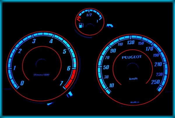 PEUGEOT 407 04-10 EU 250KMH BLACK/BLUE EL Plasma Glow Gauges Speedo Cluster Dials