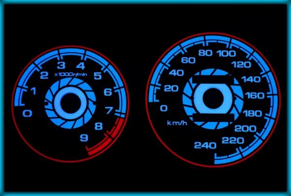 HONDA Civic MK5 92-95 VTEC EU 240KMH BLACK/BLUE EL Plasma Glow Gauges Speedo Cluster Dials