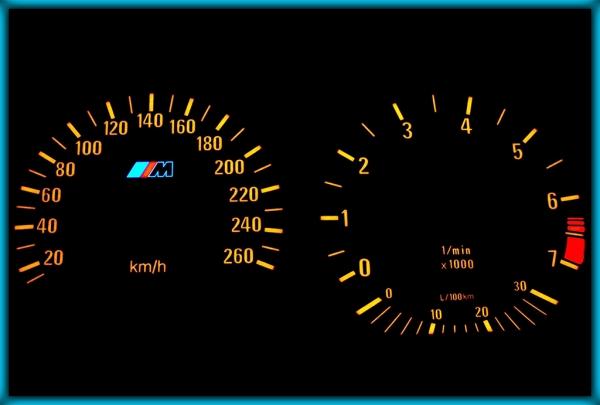 BMW E36 91-99 EU 260KMH BLACK/AMBER EL Plasma Glow Gauges Speedo Cluster Dials